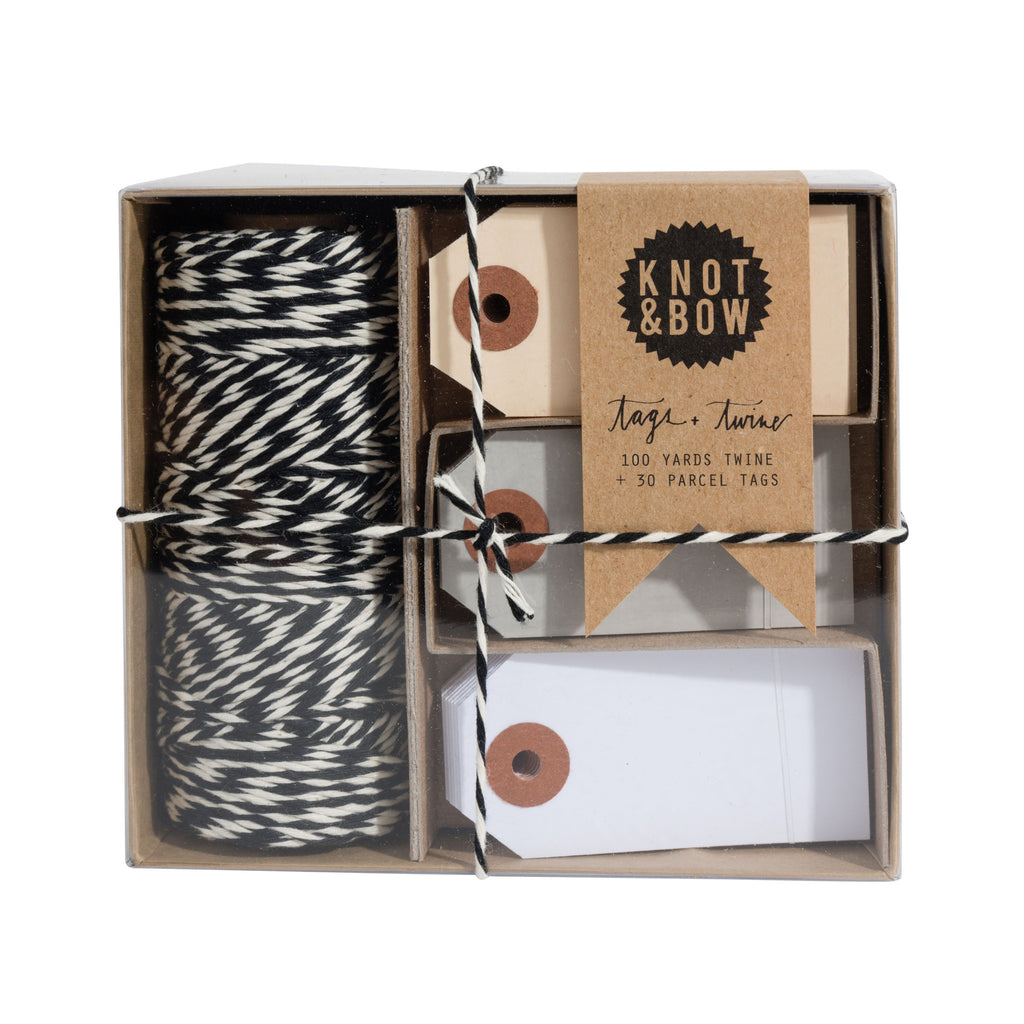 TAG + TWINE BOX / BLACK + NATURAL