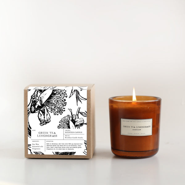 Scented Amber Candle Green Tea Lemongrass | Luxury Soy Candle | Brooklyn Candle Studio