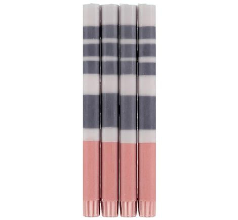 ECO DINNER CANDLES - STRIPED GREY + PINK