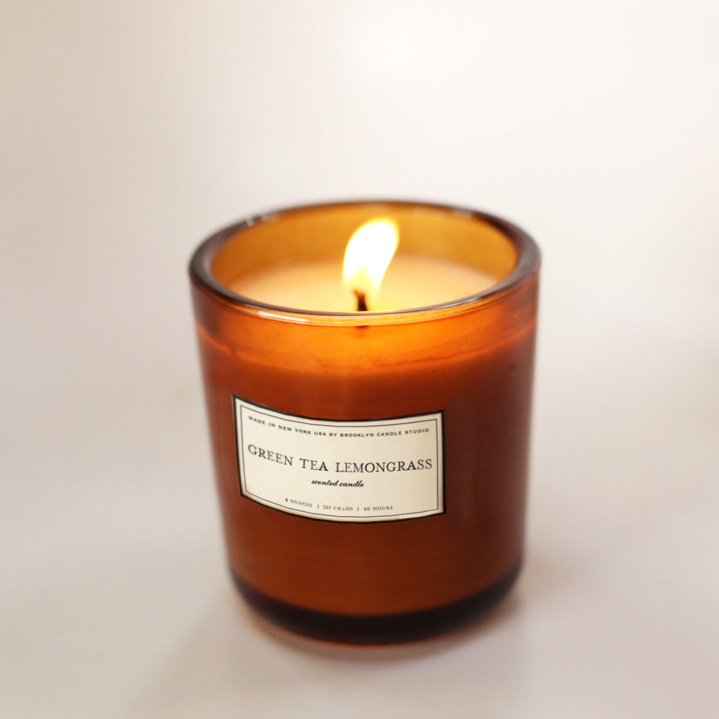 Scented Amber Candle Green Tea Lemongrass Lit | Luxury Soy Candle | Brooklyn Candle Studio