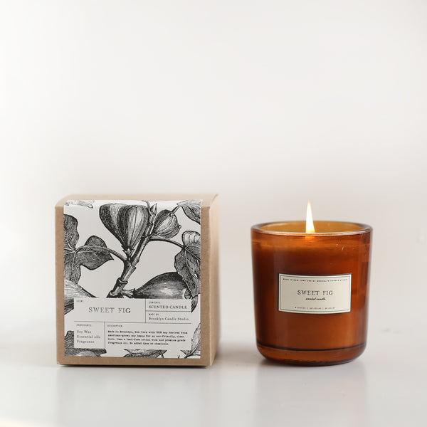 Scented Amber Candle Sweet Fig | Luxury Soy Candle | Brooklyn Candle Studio