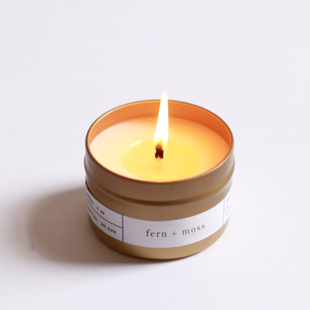 Scented Gold Travel Candle Fern + Moss Lit | Luxury Soy Candle | Brooklyn Candle Studio