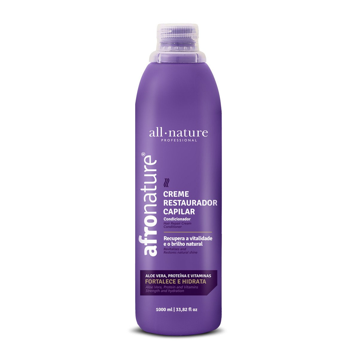 All Nature Brazilian Keratin Treatment Afro Restorative Aloe Vera Revitalizes Natural Shine Cream 1000ml - All Nature