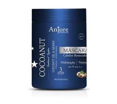 Anjore Hair Mask Treatment System Moisturizing Mask Cocoanut Coconut and Monoi Oil 1Kg - Anjore