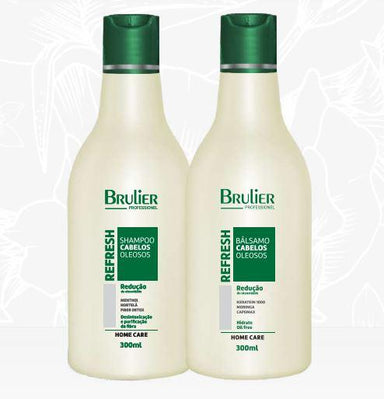 Brulier Home Care Refresh Oily Reduction Maintenance Detox Mint Home Care Hair Kit 2x300 - Brulier