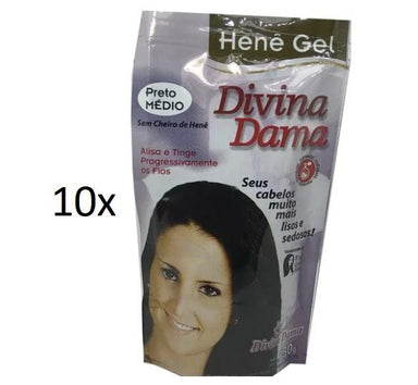 Divina Dama Brazilian Keratin Treatment Henê Gel Black Medium Straightening Dyeing Keratin Henna 180g - Divina Dama