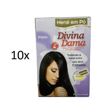 Divina Dama Brazilian Keratin Treatment Lot of 10 Henê Black Powder Henna Straightening Dyeing 50g - Divina Dama