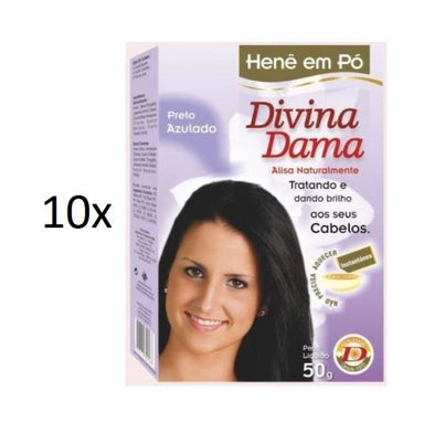 Divina Dama Brazilian Keratin Treatment Lot of 10 Henê Bluish Blue Black Powder Henna Straightening 50g - Divina Dama