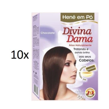 Divina Dama Brazilian Keratin Treatment Lot of 10 Henê Brown Chocolate Powder Henna Straightening 50g - Divina Dama