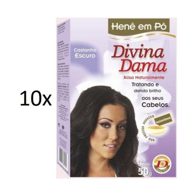 Divina Dama Brazilian Keratin Treatment Lot of 10 Henê Dark Brown Brunette Powder Henna Straightening 50g - Divina Dama