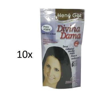 Divina Dama Brazilian Keratin Treatment Lot of 10 Jaborandi Henê Gel Strong Black Straightening Henna 180g - Divina Dama