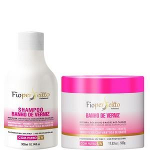 FioPerfeitto Brazilian Keratin Treatment Moisturizing Powder Varnish Bath Kit Shampoo and Mask 500g - FioPerfeitto