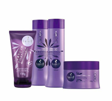 Haskell Home Care Blond Gray Hydra Hair Smoothness Silky Touch Treatment Amethyst 4 Prod - Haskell