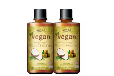 Inoar Brazilian Keratin Treatment Vegan Coconut Oil and Olive Oil Treatment Kit 2x300ml - Inoar