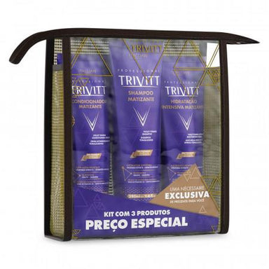 Itallian Hair Tech Itallian Kit Home Care Trivitt Blonde Matizante Hydration (3pc) - Itallian Hair Tech
