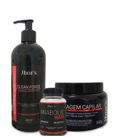 Jhors Brazilian Keratin Treatment Anabolic Clean Force Reconstruction Hair Growth Treatment Kit 3 Prod. - Jhors