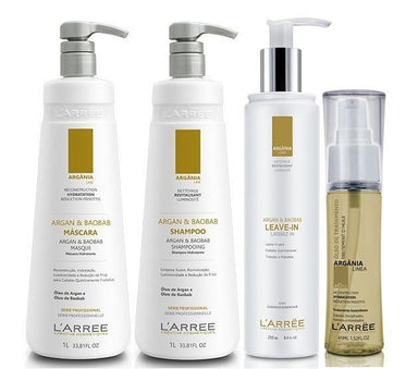 L'ARRËE Brazilian Keratin Treatment Argania Linea Professional Treatment Argan & Baobab Kit 4 Products - L'ARRËE