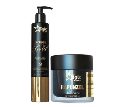 Magic Color Brazilian Keratin Treatment Pearly Effect Rapunzel Tinting Treatment Blond Gold 2 Products Kit - Magic Color