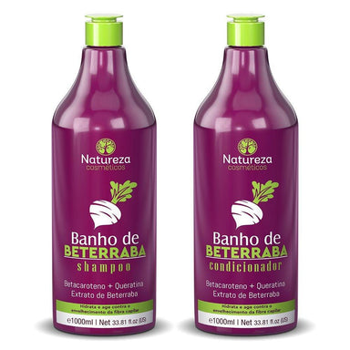 Natureza Cosmetics Brazilian Keratin Treatment Beta Carotene Keratin Beet Beetroot Bath Treatment Kit 2x1L - Natureza Cosmetics