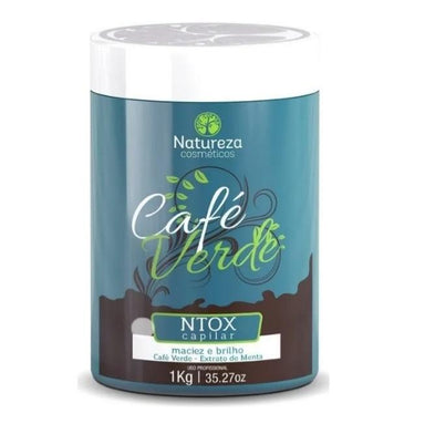 Natureza Cosmetics Hair Mask Green Coffee Ntox Mint Extract Softness Shine Hai rMask 1Kg - Natureza Cosmetics