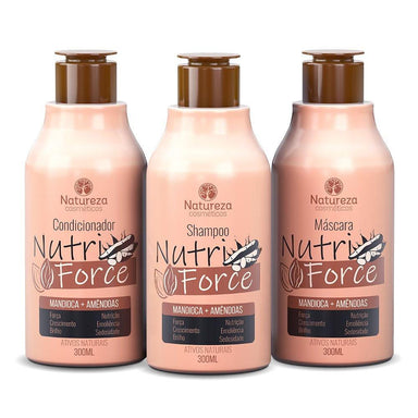 Natureza Cosmetics Home Care Nutri Force Home Care Cassava Almond Maintenance 3x300ml  Natureza Cosmetics
