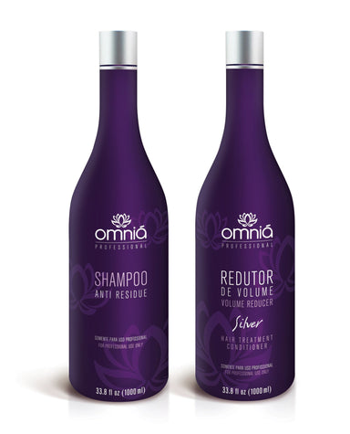 Omniá Cosmetics Brazilian Keratin Treatment Silver Hair Reducer Treatment Kit Formaldehyde Free 2x1 - Omniá