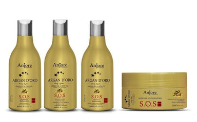 Other Brands Brazilian Keratin Treatment SOS Restoration Reconstruction Cauterization Argan D'oro Kit 3 Products - Anjore