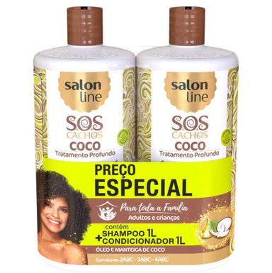 Other Brazilian Keratin Treatment SOS Curls Coconut Curly Wavy Deep Moisturizing Treatment Kit 2x1l - Salon Line