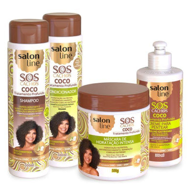 Other Brazilian Keratin Treatment SOS Curls Coconut Curly Wavy Deep Moisturizing Treatment Kit 4 Prod - Salon Line