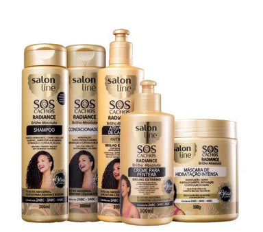 Other Brazilian Keratin Treatment SOS Curls Radiance Absolute Shine Abyssinia Keratin Biotin 5 Prod. - Salon Line