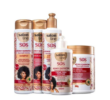 Other Brazilian Keratin Treatment SOS Curls Ricino Keratin Wavy Curly Deep Repair Treatment 5 Prod. - Salon Line