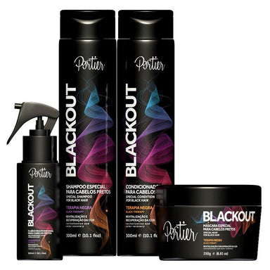 Portier Home Care Blackout Black Hair Daily Color Treatment Tinting Toning 4 Products - Portier