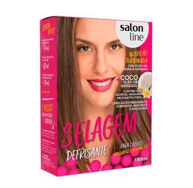 Salon Line Brazilian Keratin Treatment Defrizante Anti Frizz Treatment Sealing Wavy and Bulky Hair Kit - Salon Line
