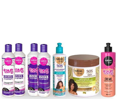Salon Line Brazilian Keratin Treatment Keratin Professional Treatment Kit for Wavy and Dry Hair 7 Products - Salon Line