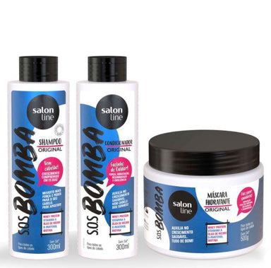 Salon Line Home Care Hair Strenght Grow Original Whey Protein SOS Bomba Kit 3 Products - Salon Line