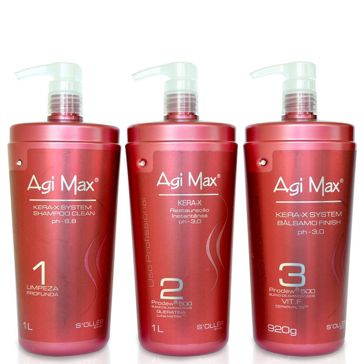 Soller Brazilian Keratin Treatment Agi Max Kera-X System Progressive Brush Kit 3x1Lt - S'ollér