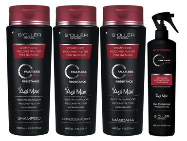 Soller Brazilian Keratin Treatment Agi Max Post Chemistry Faultless Seal Resistance Complex Kit 4 Products - Sollé'r