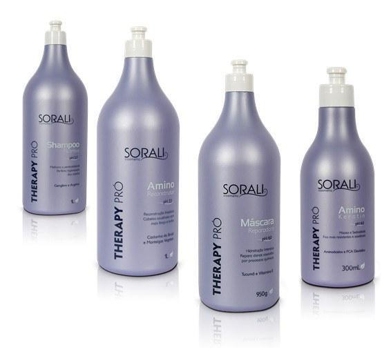 Sorali Home Care Therapy PRO Maintenance Kit- Shampoo, Reconstructor, Amino Mask and Amino Keratin - Sorali