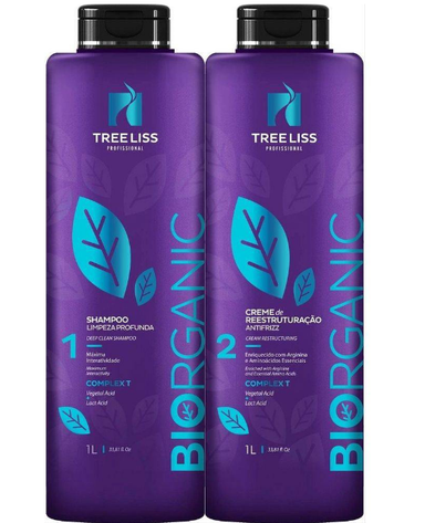Tree Liss Brazilian Keratin Treatment Biorganic Formaldehyde Free Progressive Brush Kit 2x1l - Tree Liss