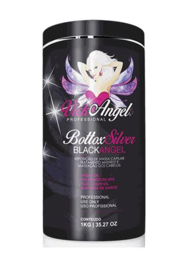 Vick Angel Brazilian Keratin Treatment Silver Bottox Black Angel Tinting Mass Replacement Anti Frizz 1Kg - Vick Angel