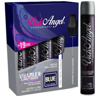 Vick Angel Brazilian Keratin Treatment Viva Plex Tinting Color Shield Blue Platinum Ampoules 4x30ml - Vick Angel