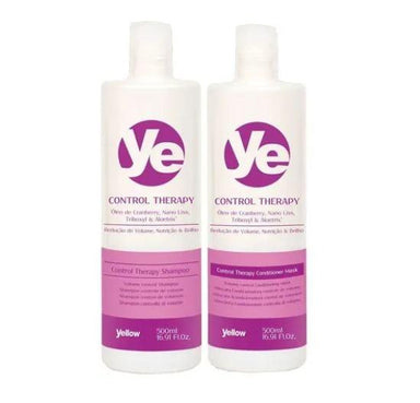 Yellow Brazilian Keratin Treatment Control Therapy Volume Reduction Nutrition Brightness Treatment 2x500ml - Yellow