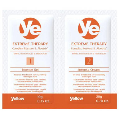 Yellow Brazilian Keratin Treatment Extreme Therapy Complex Restore Aloetrix Intense Treatment 12x20g - Yellow