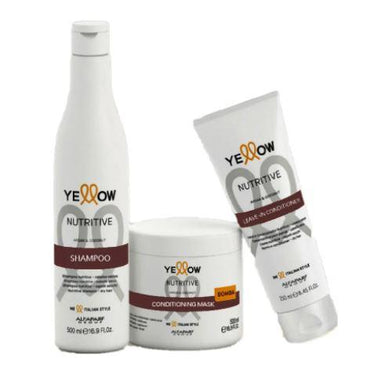 Yellow Brazilian Keratin Treatment Nutritive Argan Coconut Aloetrix Nourishing Treatment Kit 3 Products - Yellow