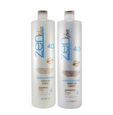 Zen Hair Brazilian Keratin Treatment Plastic of Wires Brazilian Blowout Zenplastia Coconut Oil 4D Kit 2x1L - Zen Hair