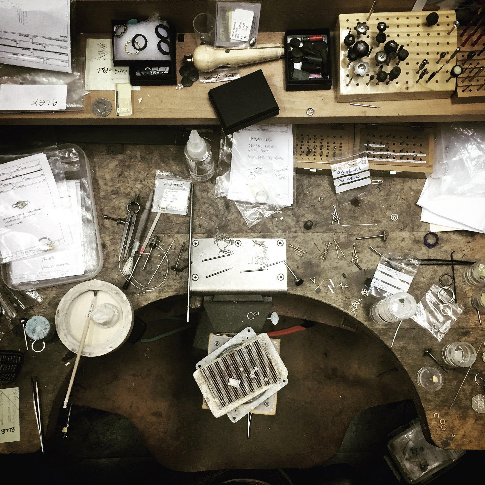 Ariel view of a jewellers bench at James Newman Jewellery