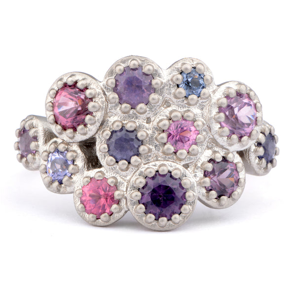 Unique Fiori Mixed Spinel Part Eternity Ring - James Newman Jewellery