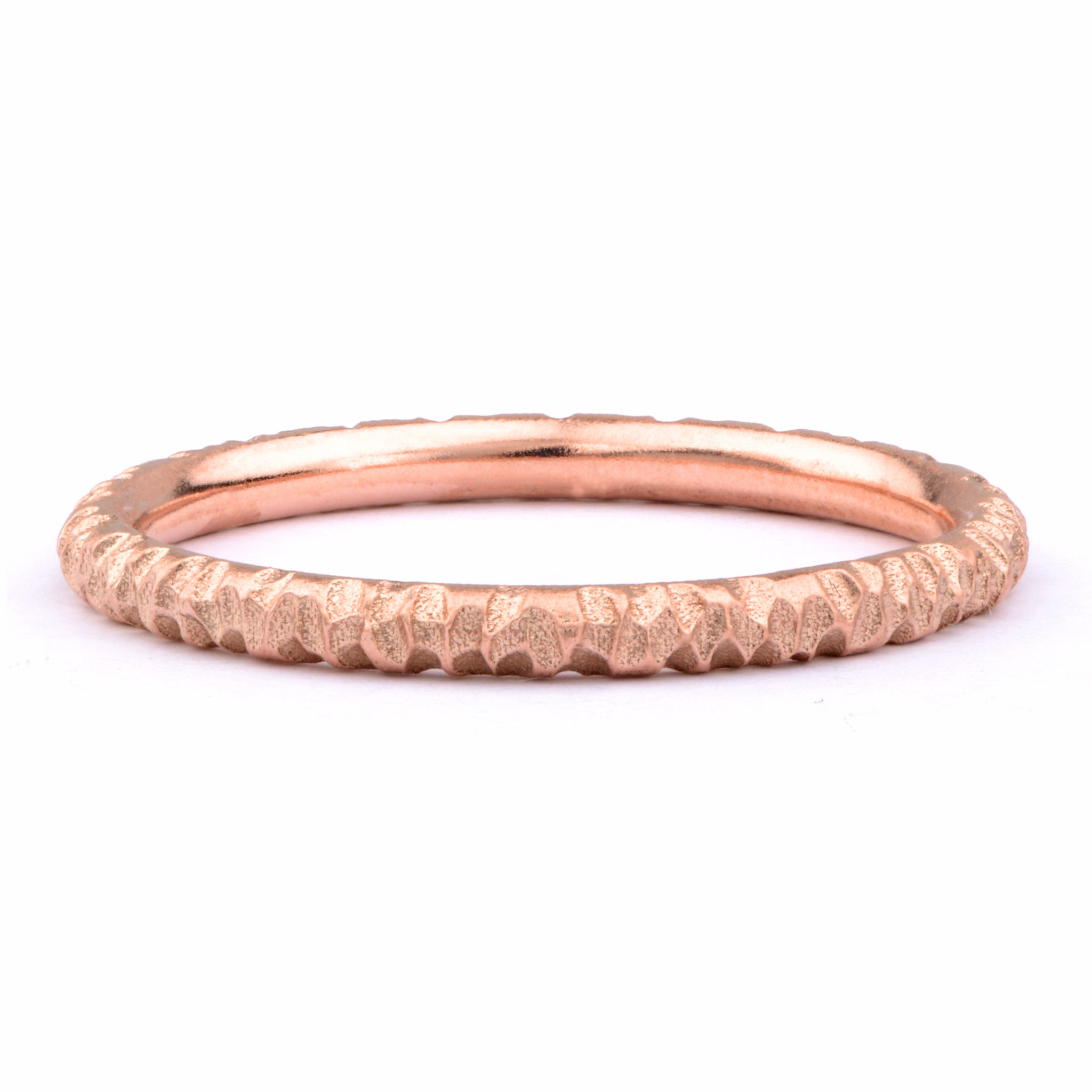 Textured 9ct Red Gold Wedding Band - James Newman Jewellery