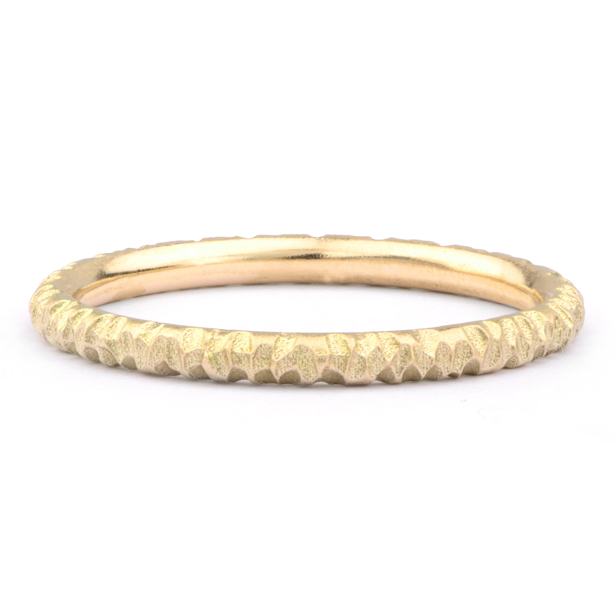 Textured 18ct Yellow Gold Wedding Band - James Newman Jewellery