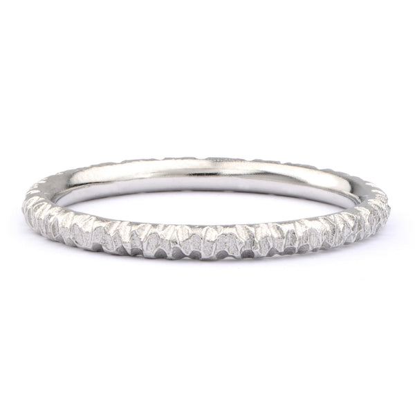 Textured Platinum Wedding Band - James Newman Jewellery